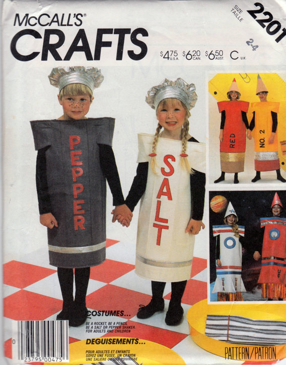 salt pepper pencil rocket costume sewing pattern