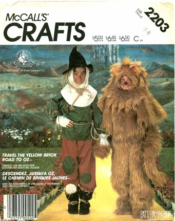 scarecrow lion oz costume sewing pattern