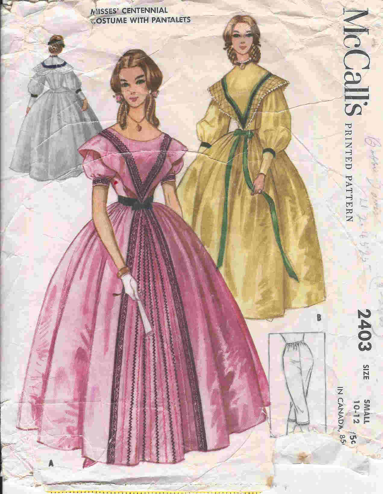 centennial gown pantalets costume sewing pattern