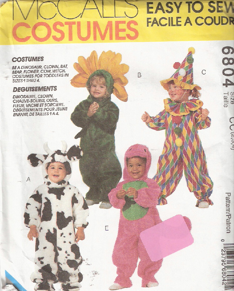 dinosaur clown flower cow costume sewing pattern