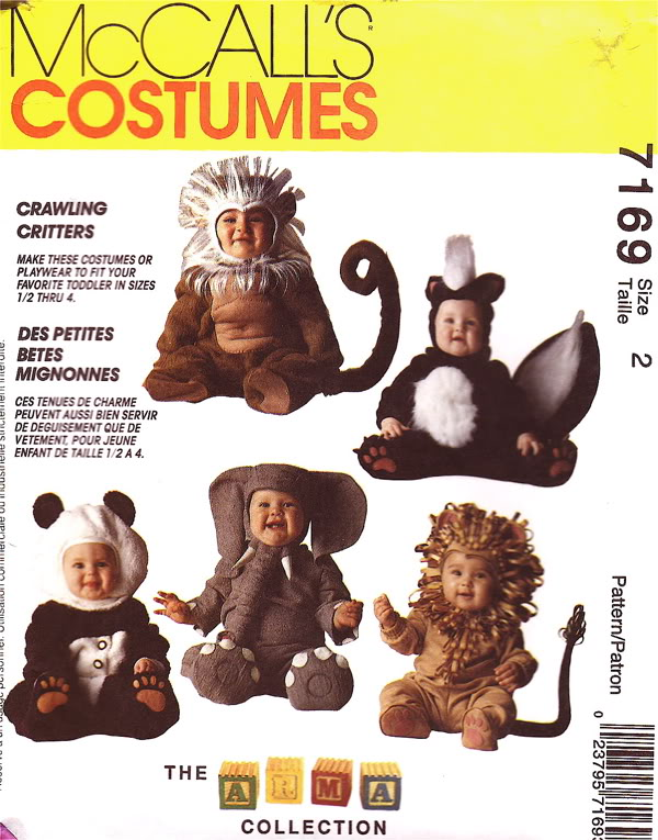lion skunk panda elephant monkey costume sewing pattern