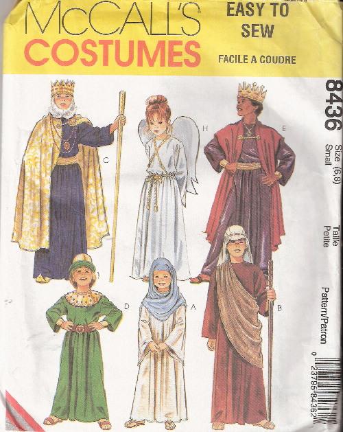 nativity shepherd angel king costume sewing pattern