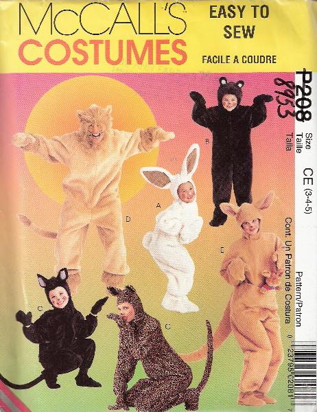 lion bear bunny cat kangaroo animal costume sewing pattern
