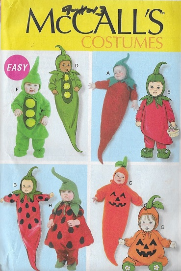 vegetable pea carrot watermelon pumpkin costume sewing pattern