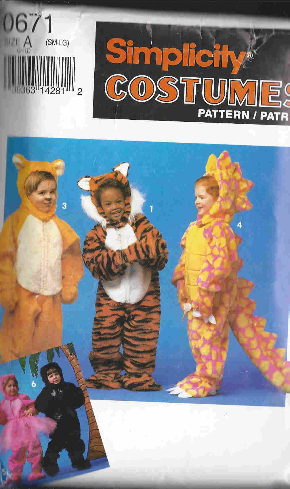 dinosaur lion tiger gorilla costume sewing pattern