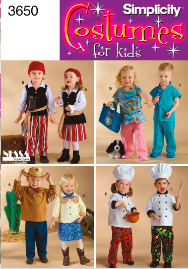 pirate doctor nurse cowboy costume sewing pattern