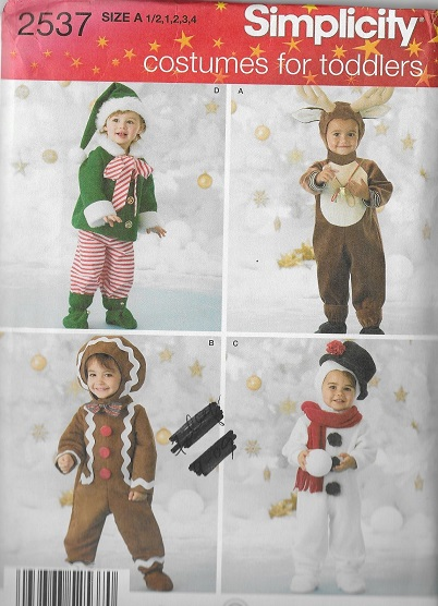 elf reindeer gingerbread snowman costume sewing pattern