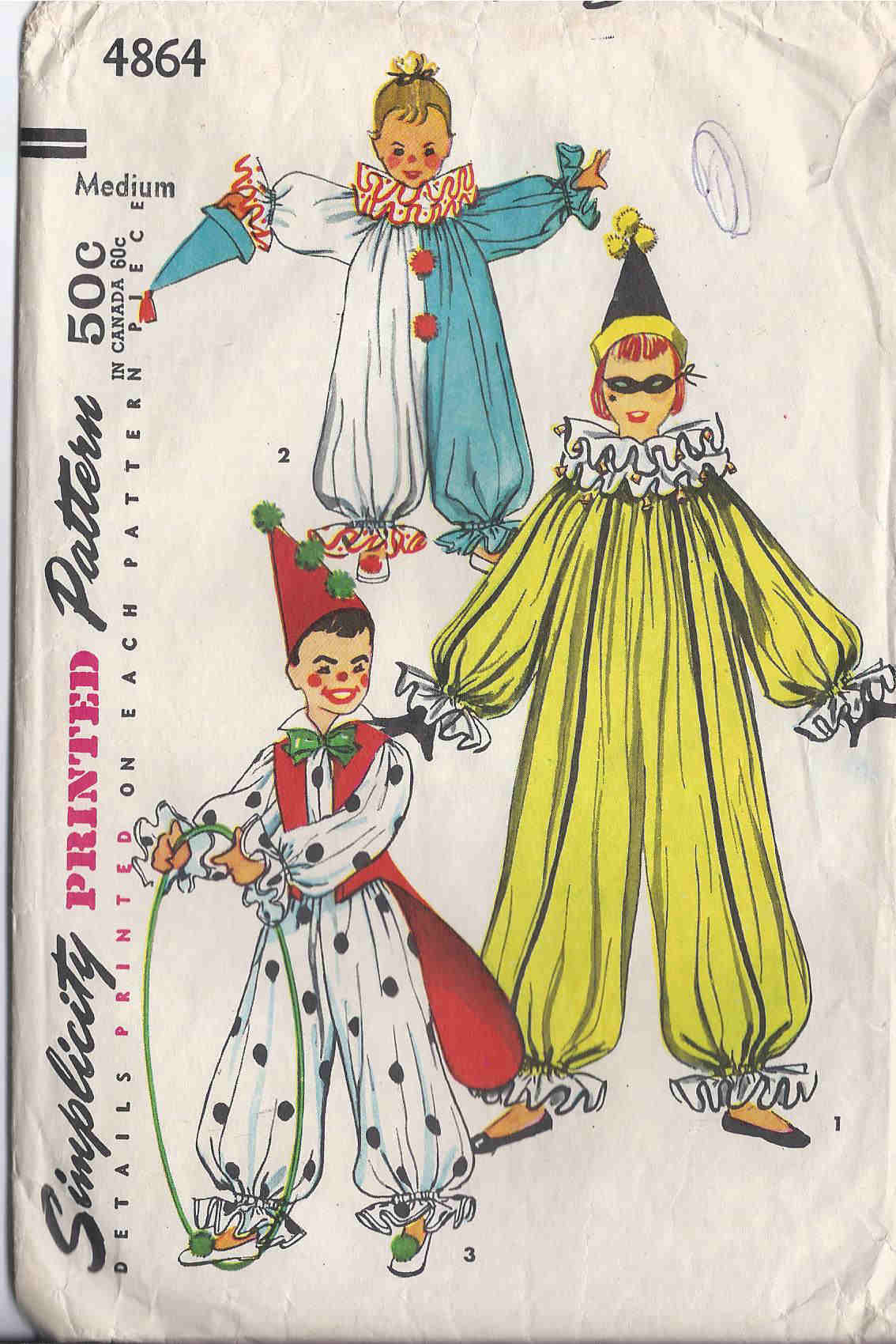 vintage clown costume sewing pattern