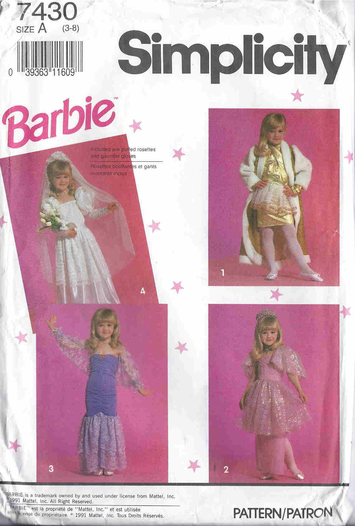 Barbie costume sewing pattern