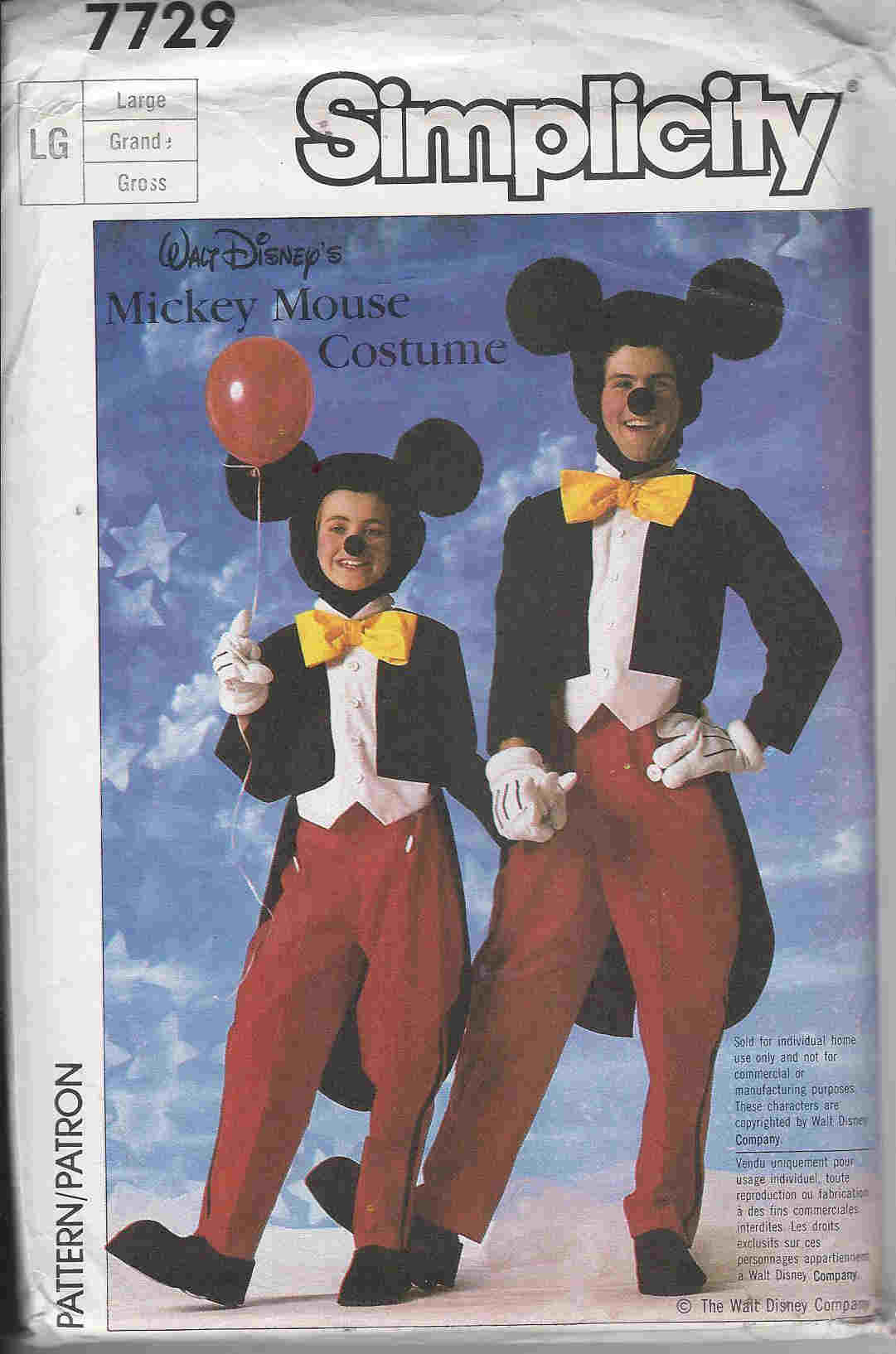 Mickie Mouse costume sewing pattern