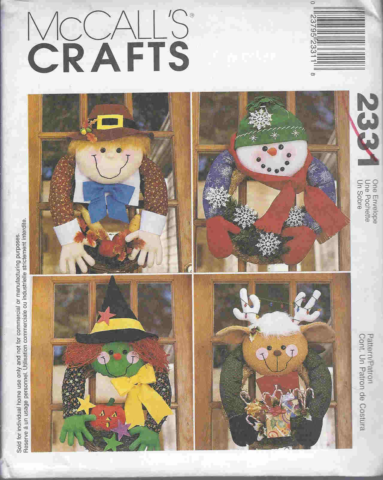 wreath snowman witch pilgrim sewing pattern