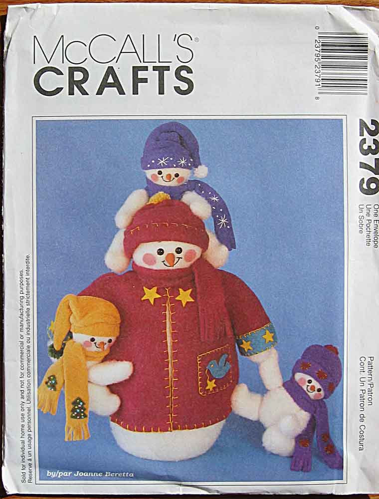 snowmen sewing pattern