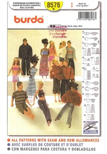 fashion doll barbie ken top pants skirt coat sewing pattern