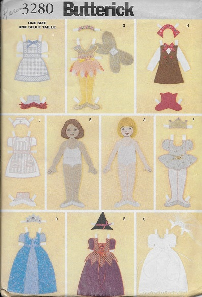 paper doll clothes sewing pattern