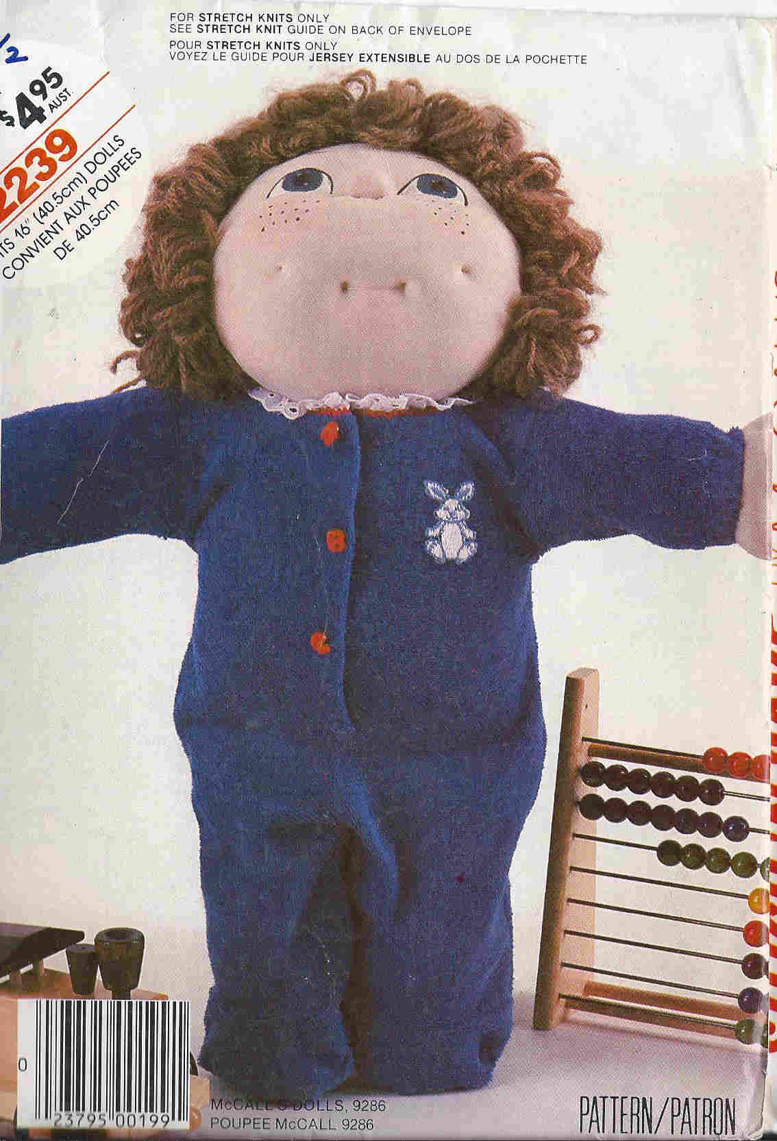 cabbage patch doll pajamas sewing pattern