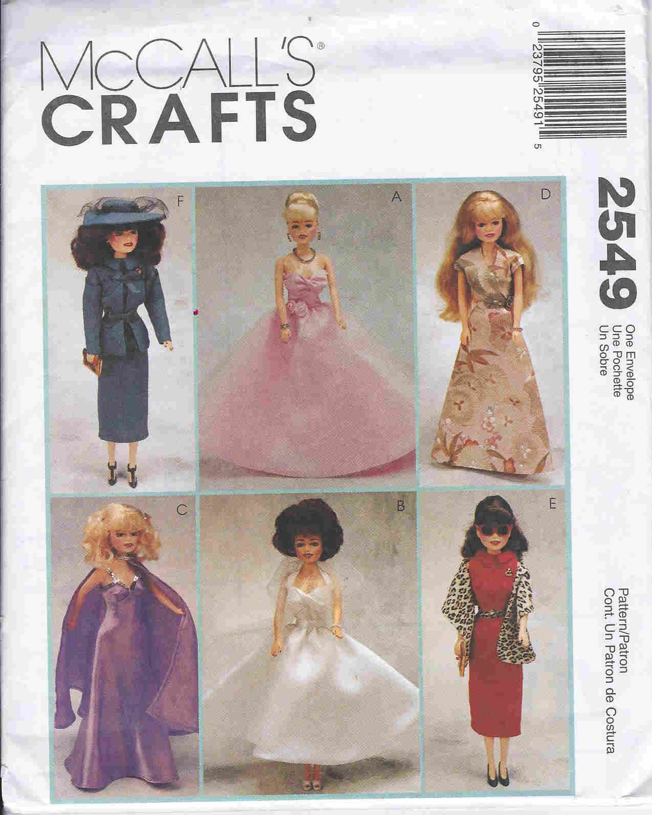 fashion doll dress evening wear sewing pattern