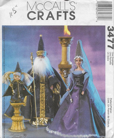 wizard costumes fashion doll sewing pattern