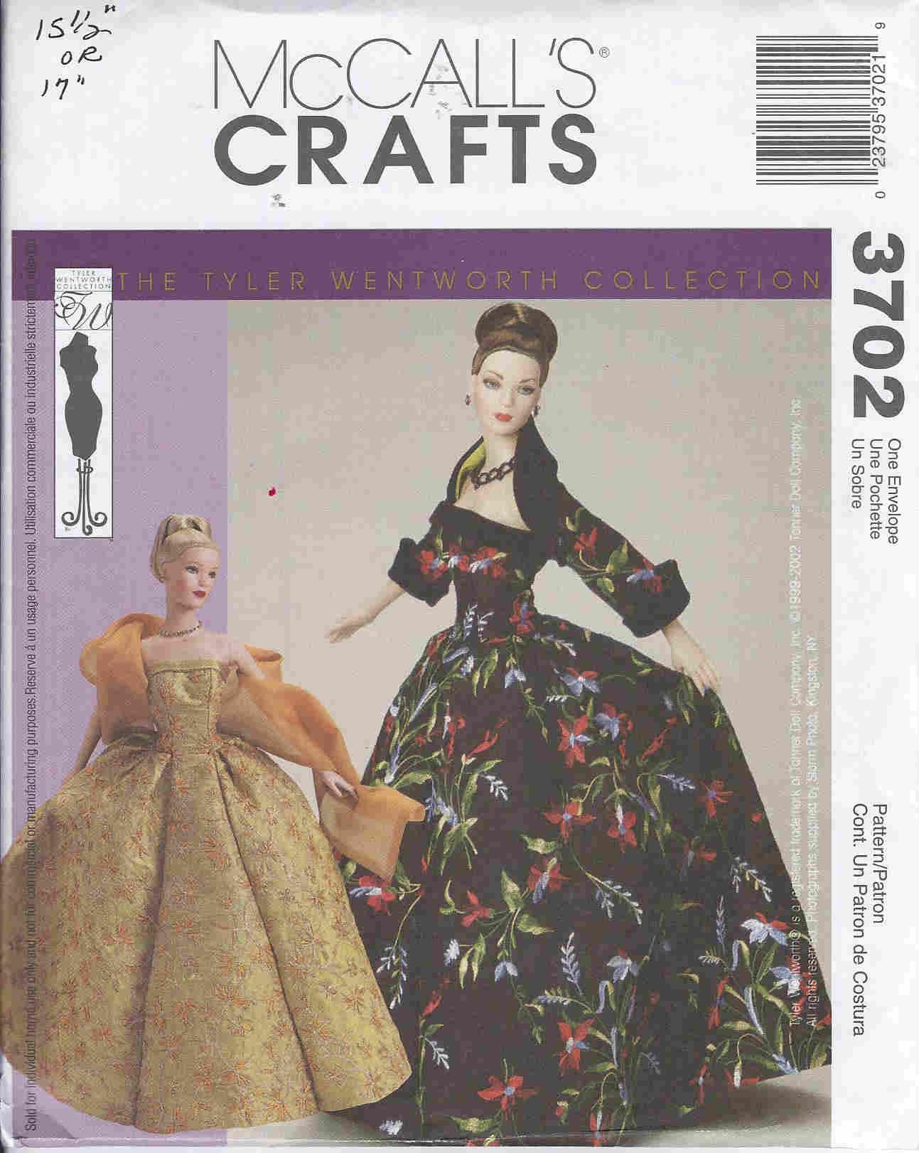 Tyler Wentworth fashion doll gown shrug shawl petticoat sewing pattern