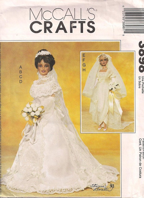 fashion doll bridal gown veil sewing pattern