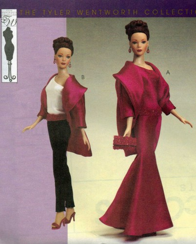 Tyler Wentworth fashion doll gown purse coat sewing pattern