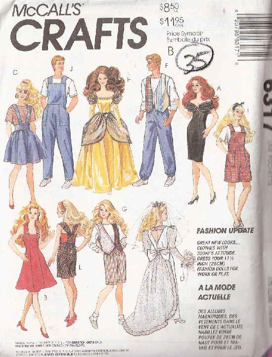 barbie fashion doll dress shirt skirt sewing pattern