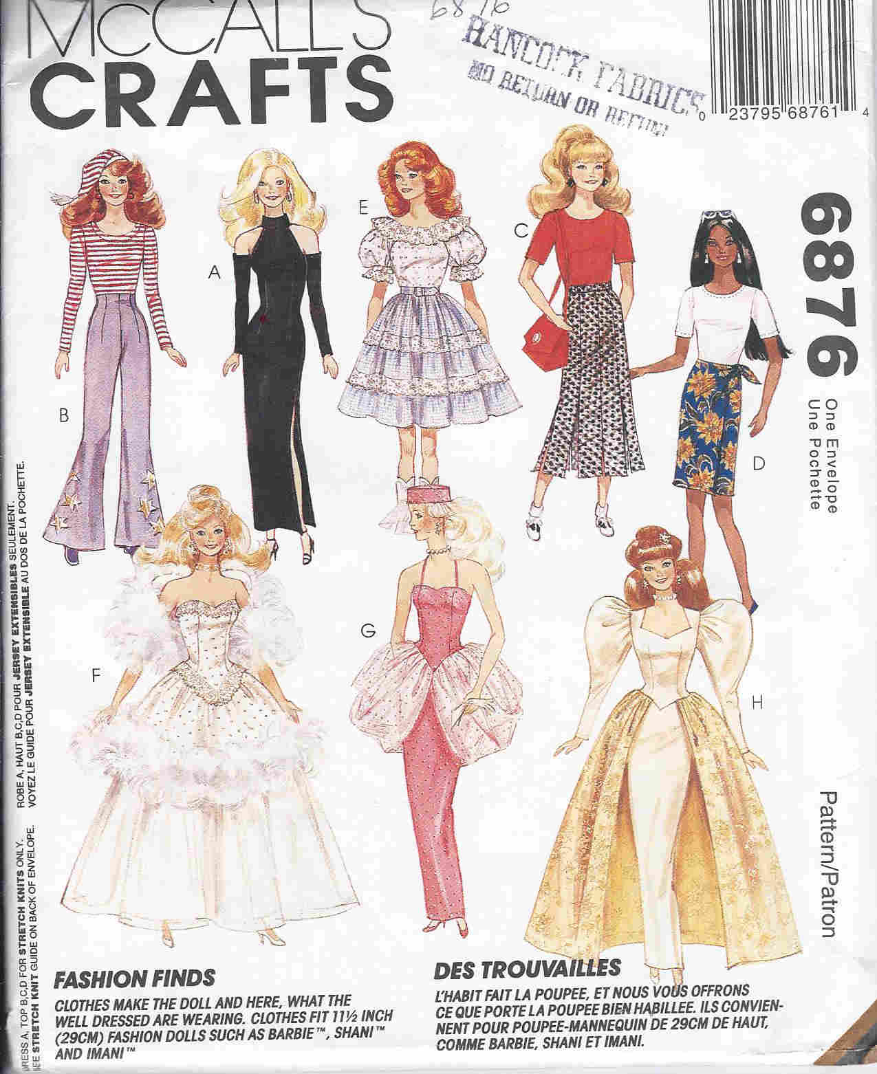fashion doll outfits sewing pattern