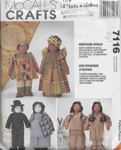 Girl Boy Rag Cloth Doll Clothes Bonnet Apron Dress Sewing Pattern McCALL 1158