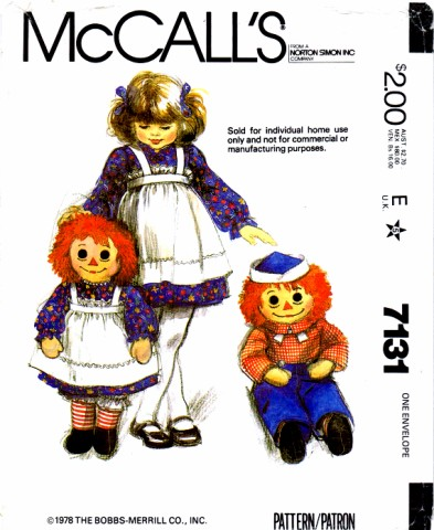 raggedy ann andy doll apron sewing pattern