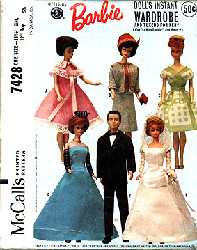 barbie doll wardrobe tuxedo gown sewing pattern