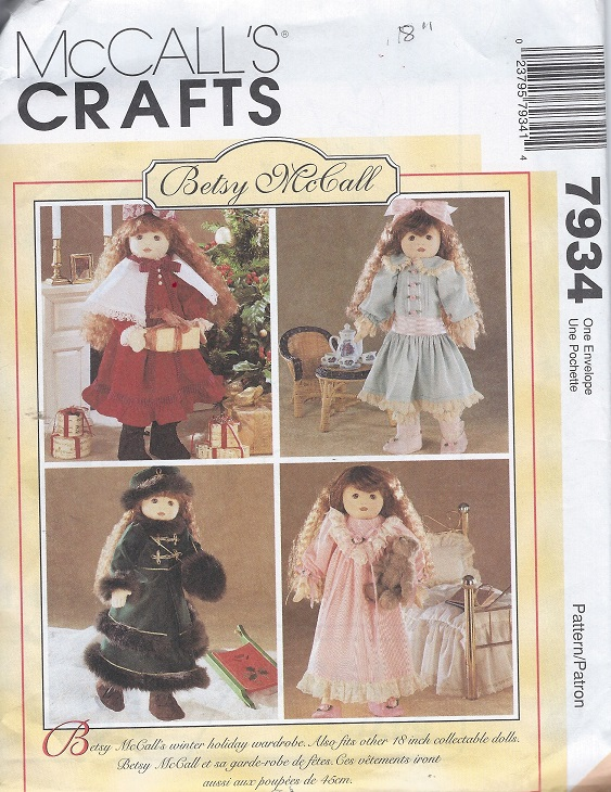 betsy mcall doll clothes sewing pattern