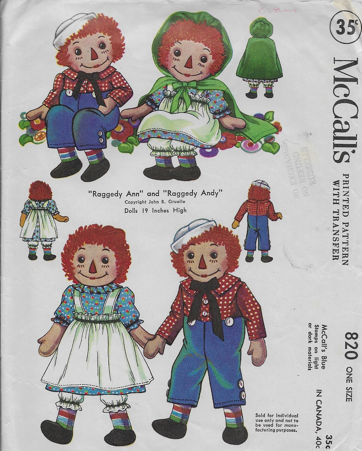 raggedy ann andy doll sewing pattern