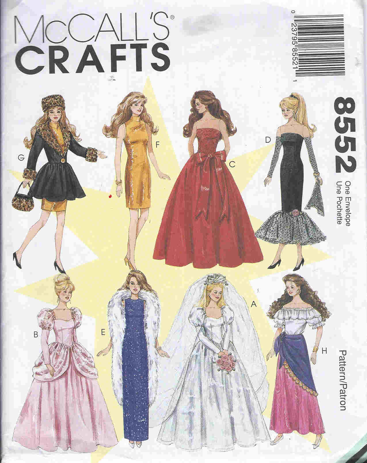fashion doll wedding gown dress sewing pattern