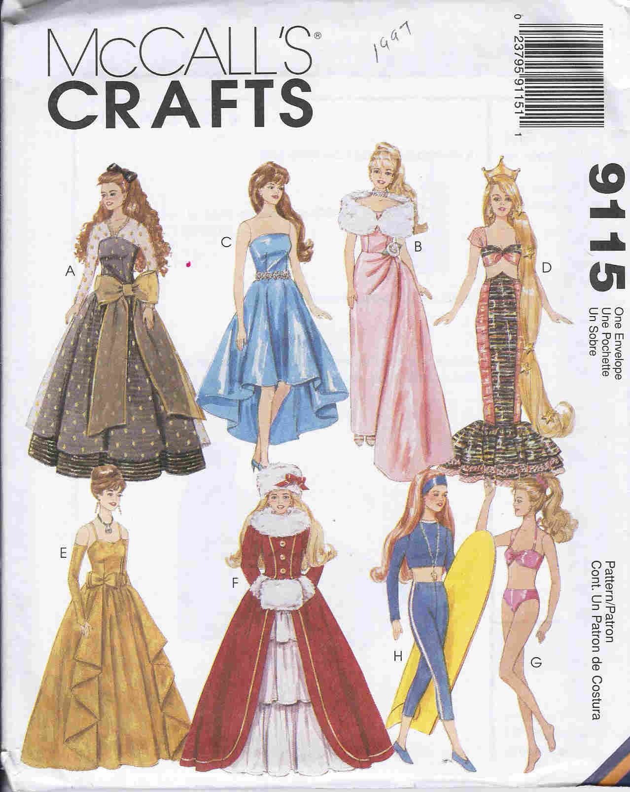 fashion doll gown dress coat sewing pattern