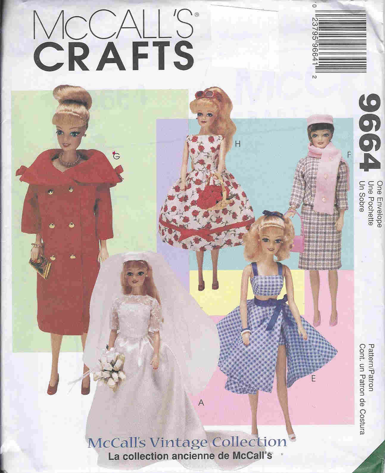 fashion doll vintage clothes sewing pattern