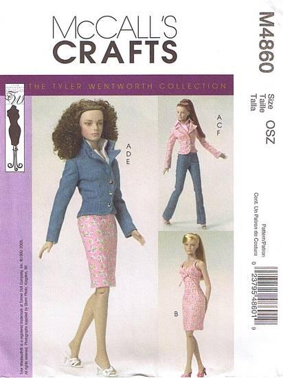 Tyler Wentworth fashion doll blazer dress shirt skirt pants sewing pattern