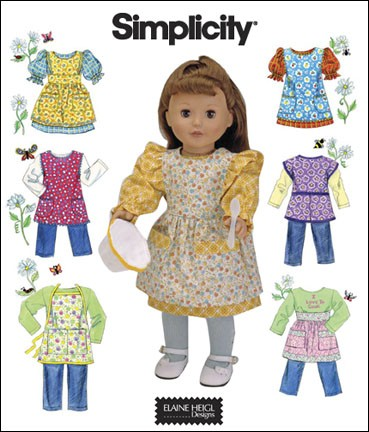 shirt pants aprons doll sewing pattern
