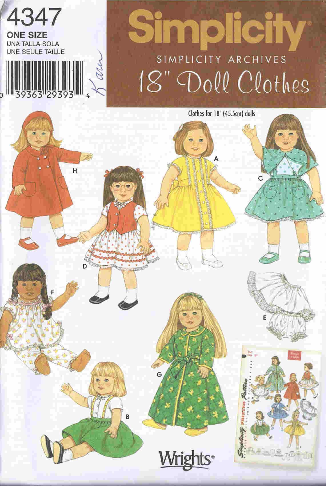 1952 doll wardrobe sewing pattern