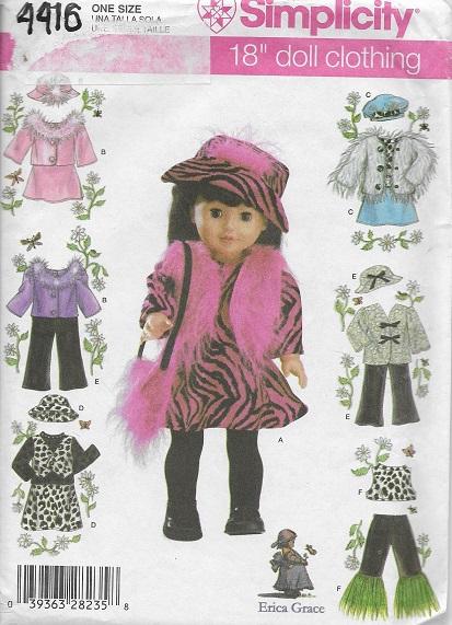 doll clothes dress vest hat bag jacket skirt pants sewing pattern