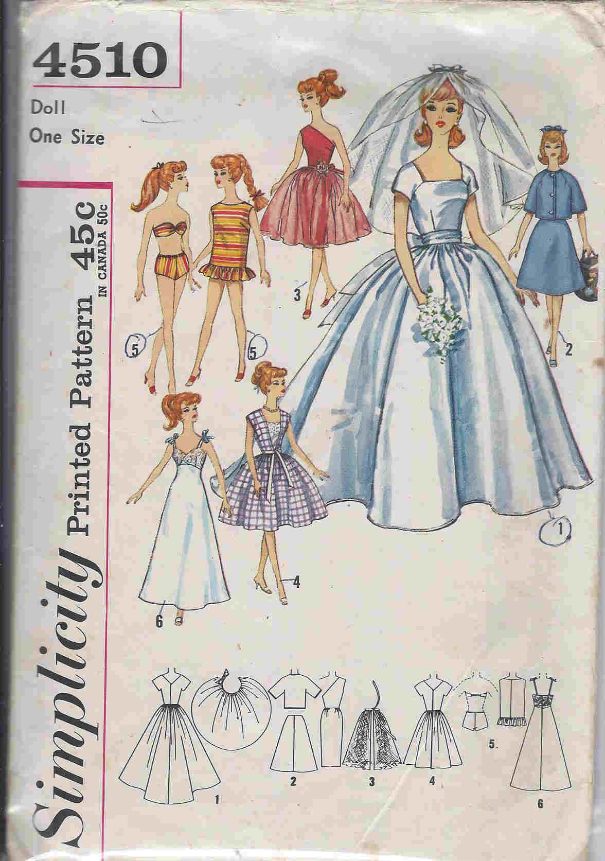 barbie doll bridal gown trousseau sewing pattern
