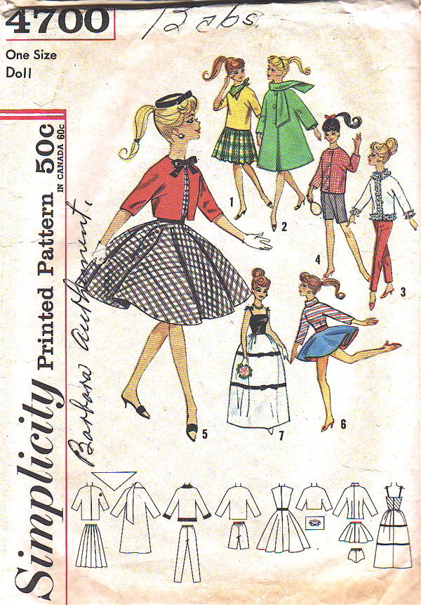 barbie doll wardrobe sewing pattern