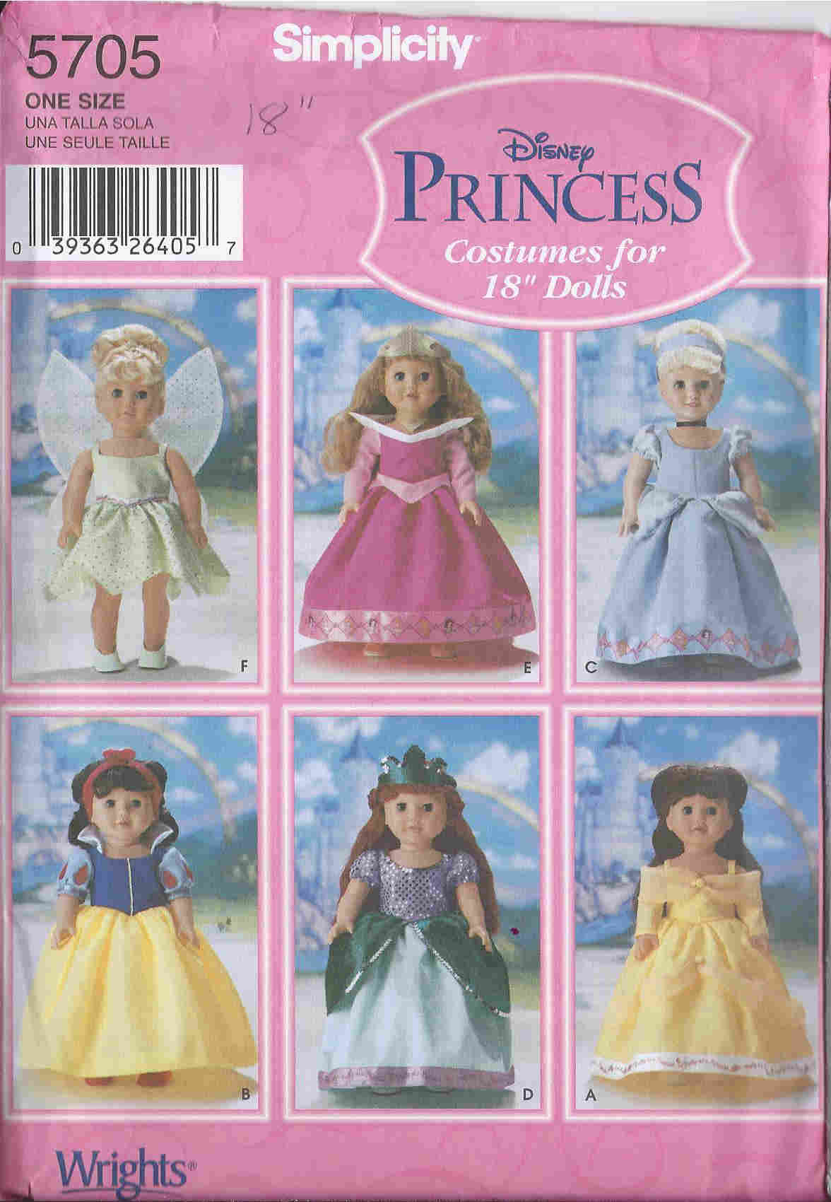 disney princess costume doll sewing pattern