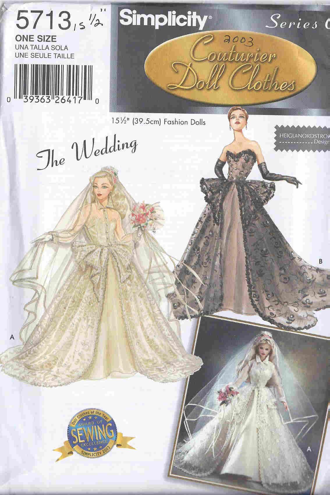 gene wedding dress gloves veil fashion doll sewing pattern