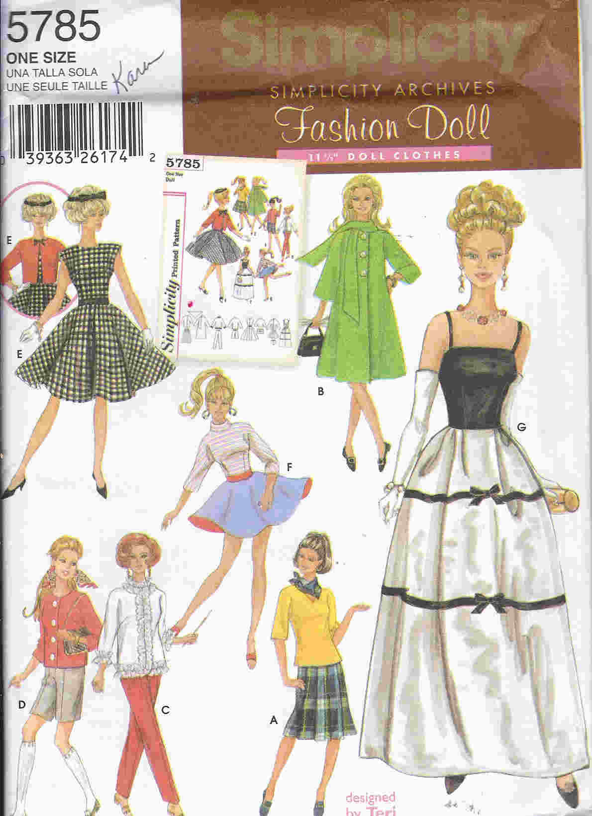 barbie doll retro coat pants blouse skirt sewing pattern