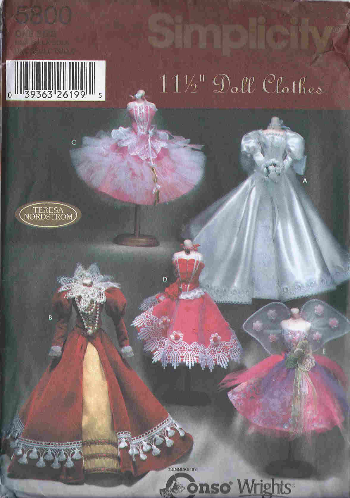 barbie doll fancy dress sewing pattern