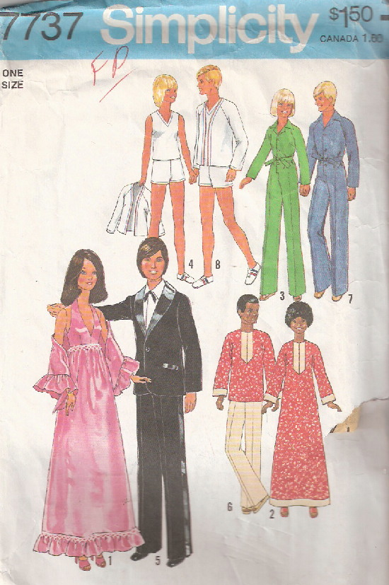 barbie ken doll caftan jumpsuit sewing pattern