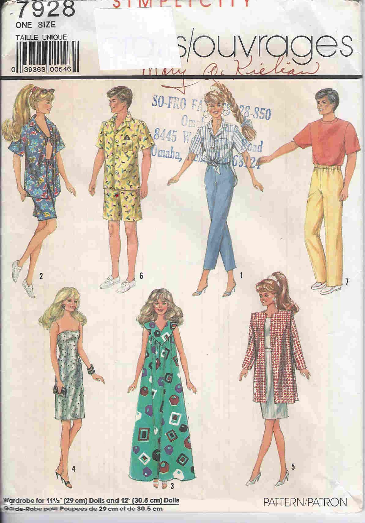 barbie ken doll shirt pants sewing pattern