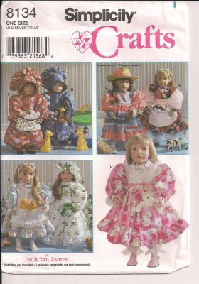 doll clothes blouse pinafore apron nightgown sewing pattern