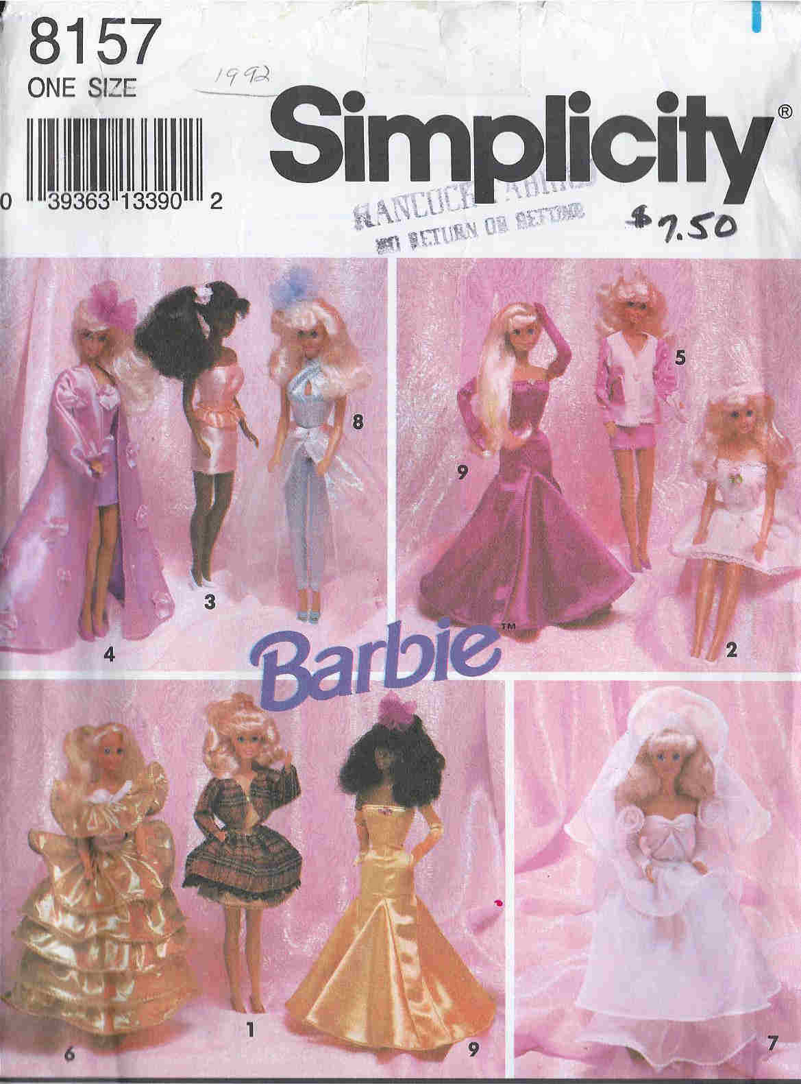 barbie doll evening wardrobe sewing pattern