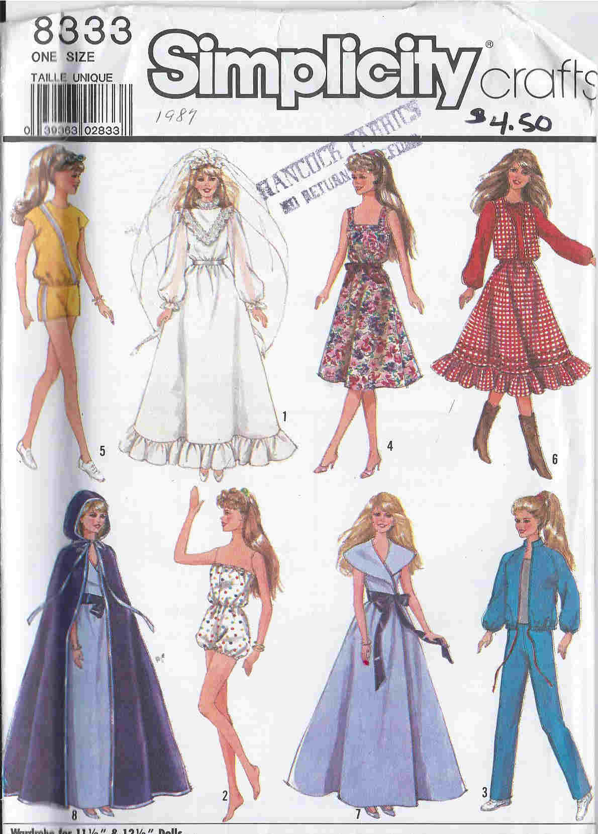 barbie doll wedding gown veil sewing pattern