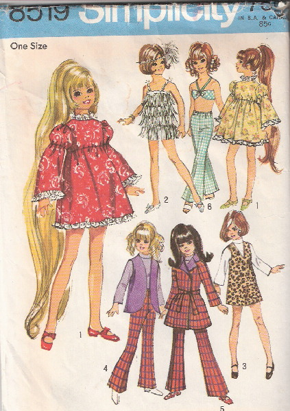 doll clothes Crissy dress jumper blouse bra sewing pattern